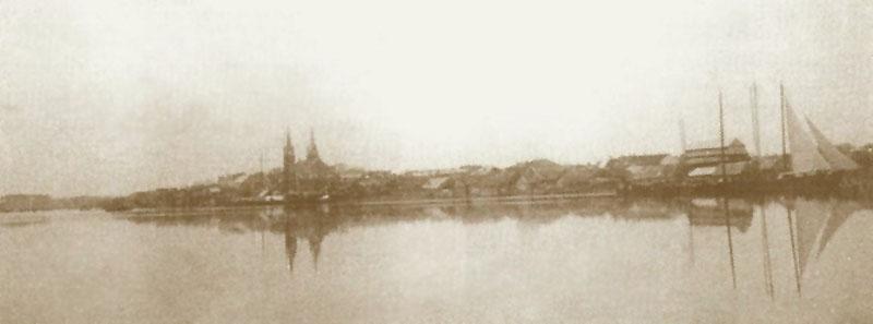 Laivai Nemune prie Jurbarko