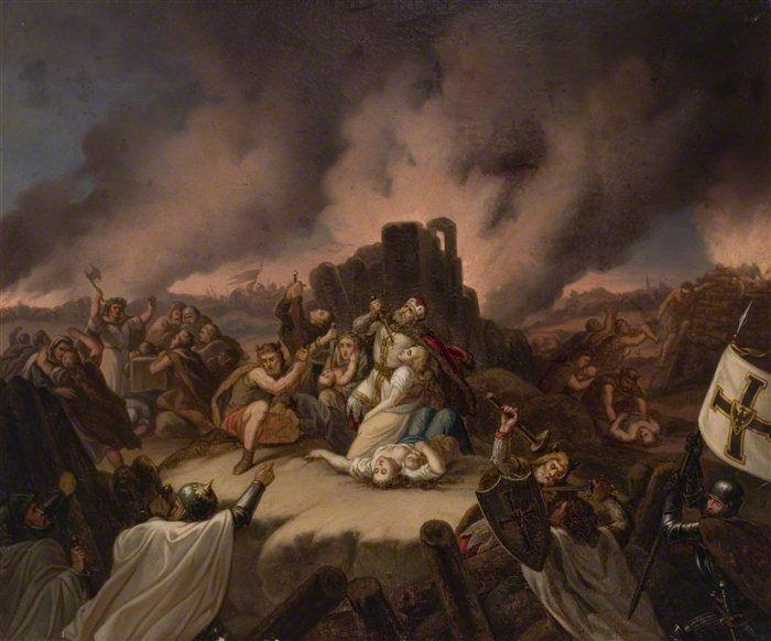 Margirio mirtis Pilėnuose. Dailininko Vladislovo Majeranovskio XIX a. paveikslas.