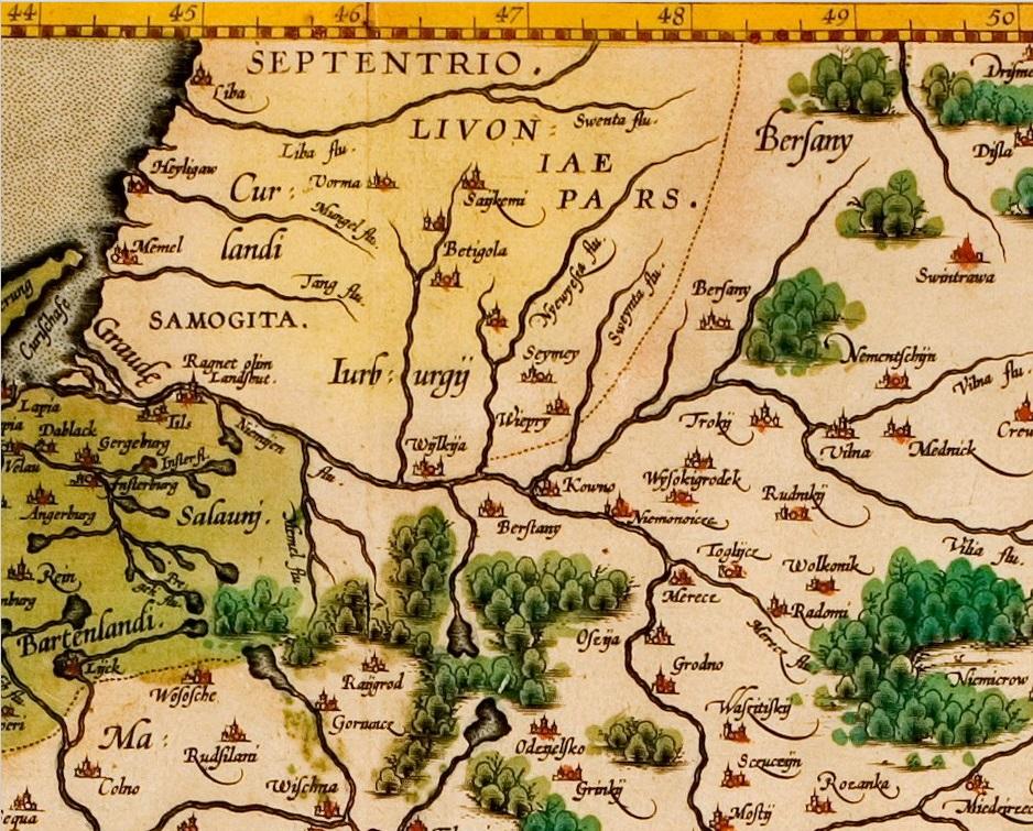 Grodeckio žemėlapio POLONIAE REGNVM fragmentas, išleistas Antverpene, apie 1595 m.