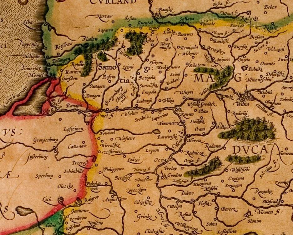 Merkatoriaus žemėlapio fragmentas, XVI a.
