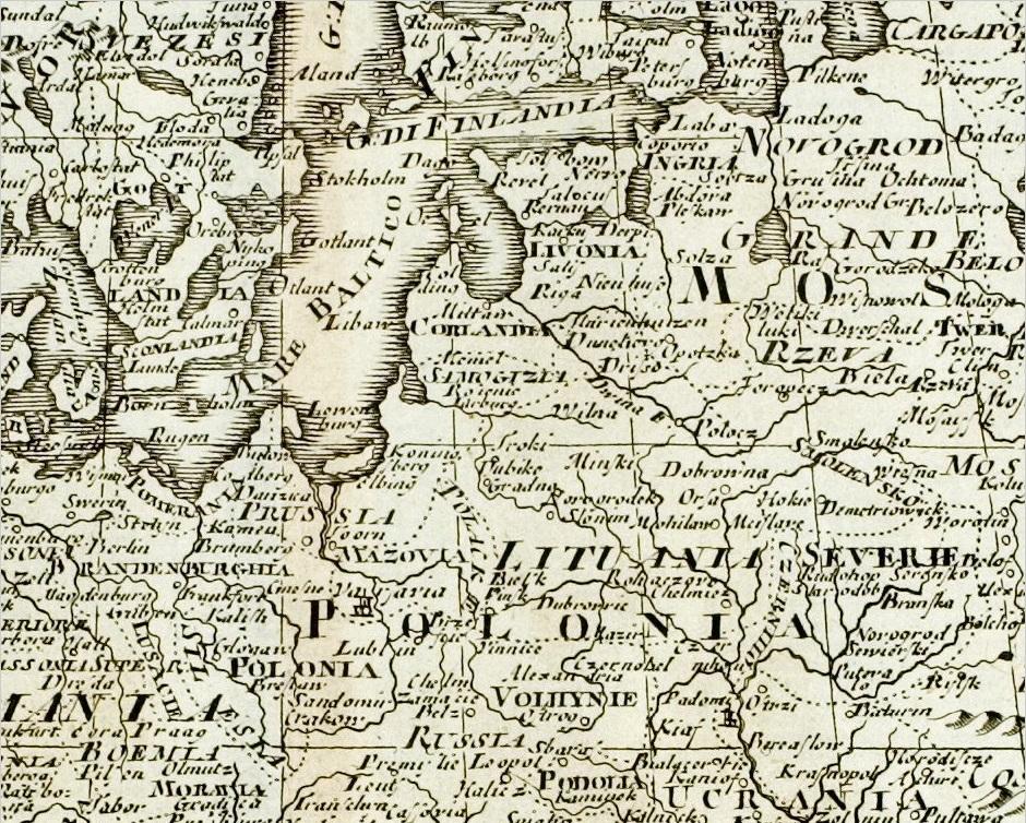 1738 metų itališkame Europos žemėlapyje pažymėti keturi Lietuvos miestai, tame tarpe Jurbarkas.
