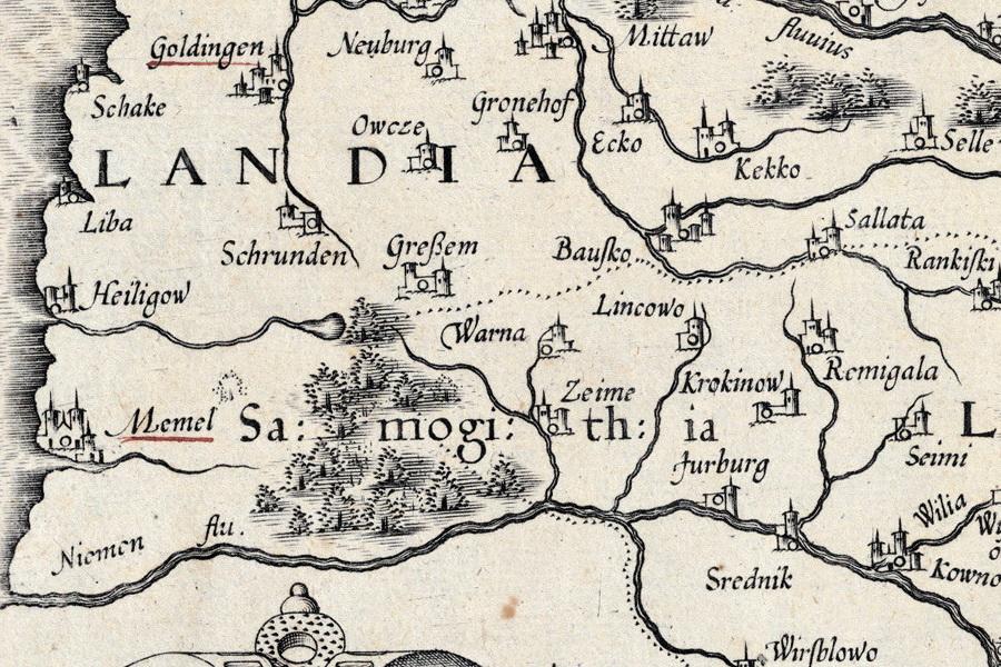 1589 m. Strubičiaus žemėlapio fragmentas
