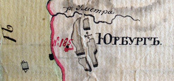 Rusijos imperijos pasienio su Prūsijos valdomis Nemuno upe žemėlapio nuo stulpo 181 iki 186 fragmentas, Jurbarko miestas.