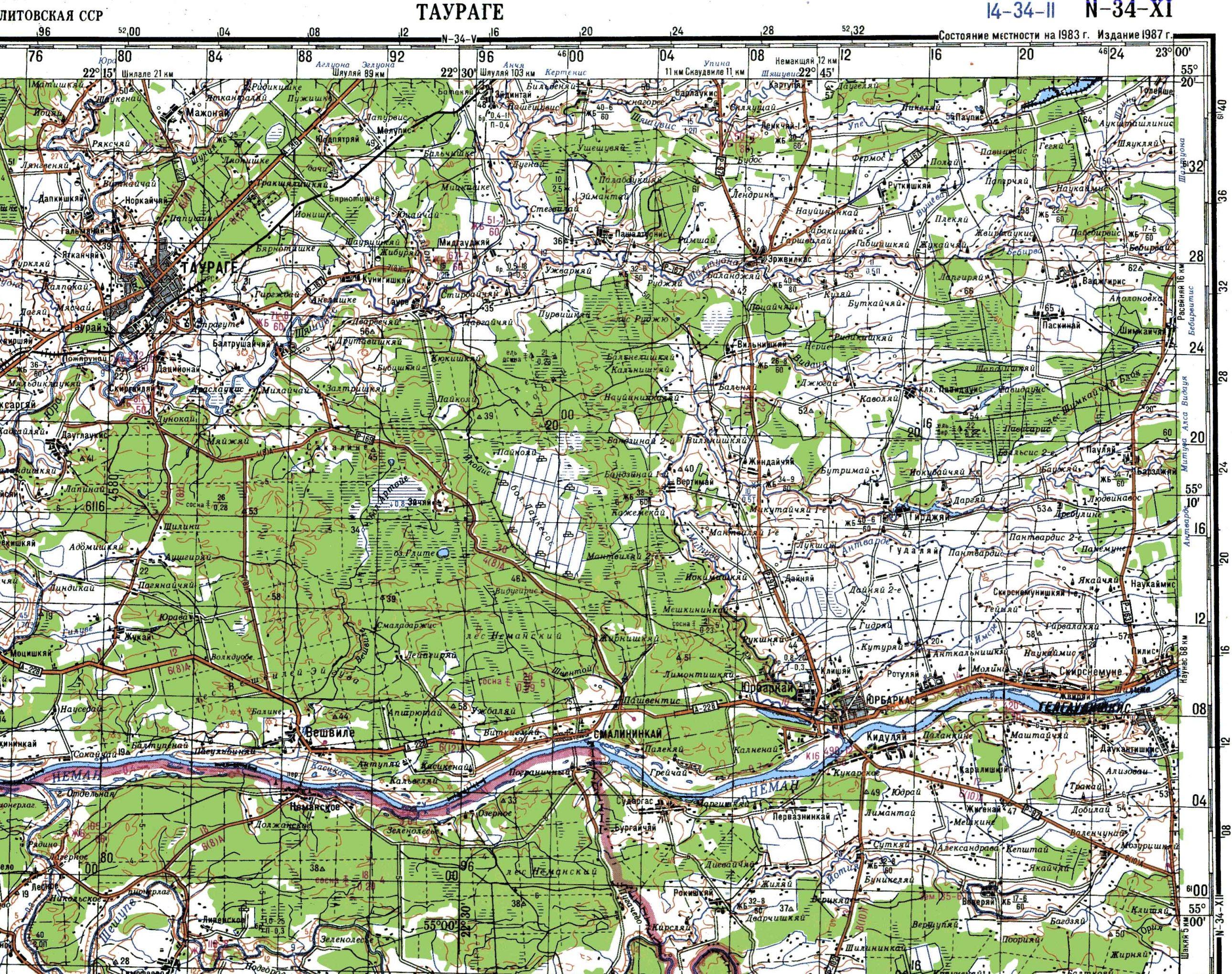 Karinio SSSR žemėlapio dalis. Šaltinis maps4u.lt