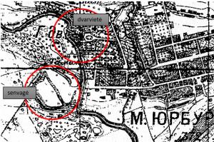 Mituvos vaga, pažymėta upės senvagė ir dvaras, 1892 m. žemėlapis