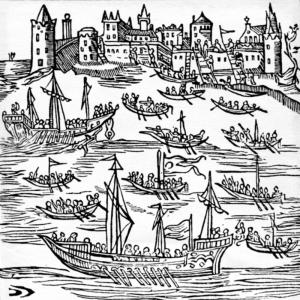 Kazokų laivynas 1616 m. užima Kafą. ru.wikipedia.org/wiki/Чайка_(лодка)