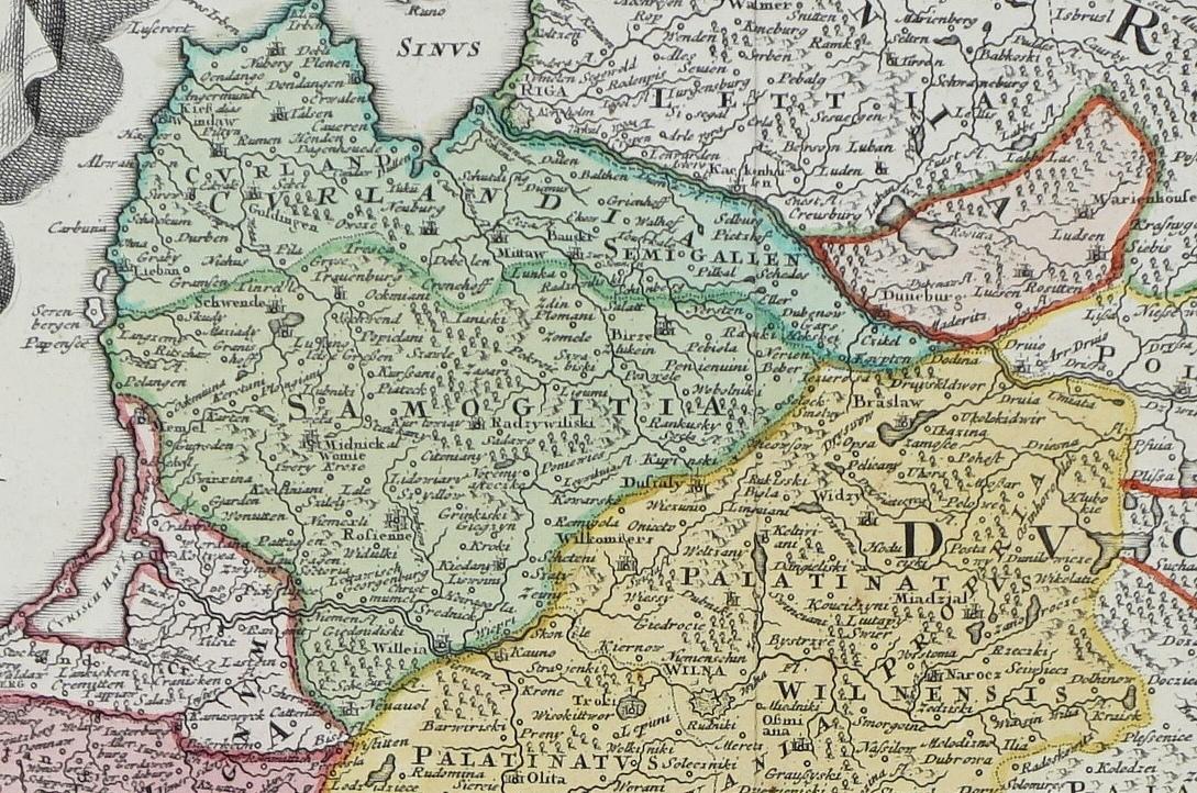 1739m., kartografas J.B.Homann. Žemėlapio dalis
