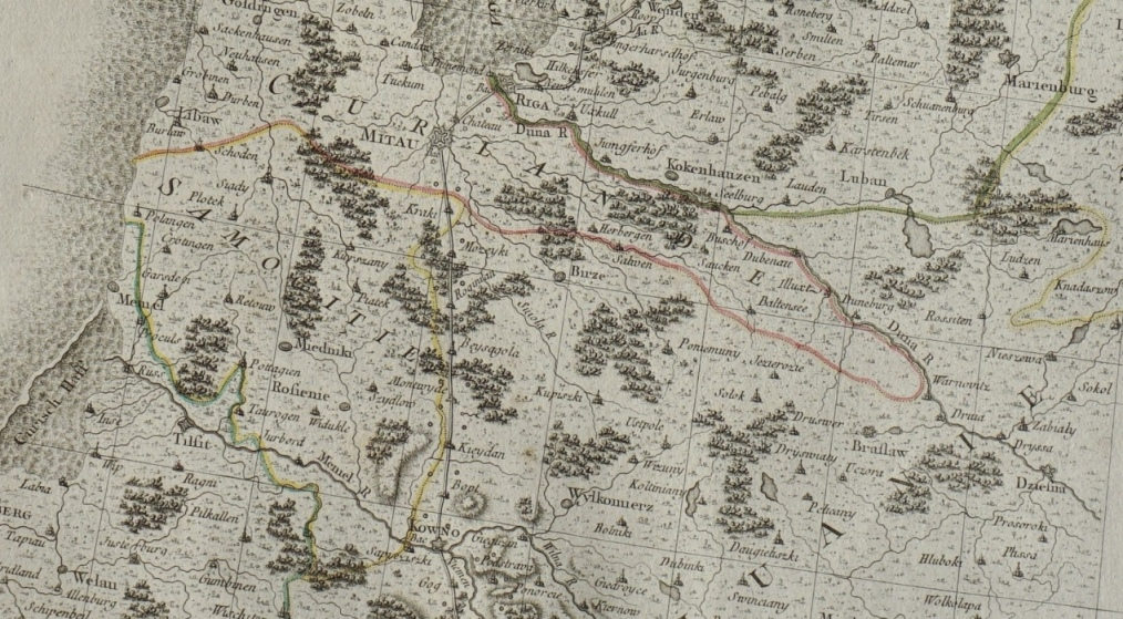 1768 m. J. Chappe dAuteroche žemėlapio dalis