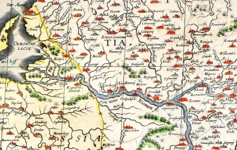1634 m. išleistas olandų kartografo ir astronomo Willem Janszoon Blaeu Lietuvos Didžiosios Kunigaikštystės žemėlapio fragmentas