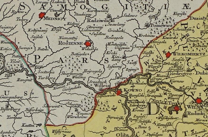 1770 m. kartografo T.C.Lotter Lietuvos Didžiosios kunigaikštystės žemėlapio dalis
