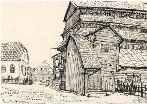 M.Dobužinskis. Jurbarko sinagoga, 1933 m. Lietuvos dailės muziejus