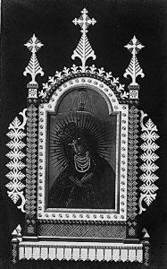 Dvipusis nešiojamas Kaimelio bažnyčios procesijų altorėlis. Tapyba – P. Mikutaičio, rėmų puošyba – P. Puišio